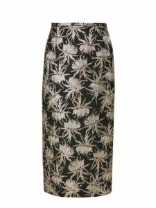 Rochas - Oncidium Metallic Jacquard Pencil Skirt - Womens - Black Gold