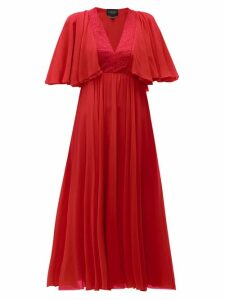 Giambattista Valli - Butterfly Sleeve Silk Chiffon Midi Dress - Womens - Red