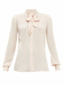 Giambattista Valli - Tie Neck Crepe Blouse - Womens - Light Pink
