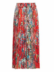 Golden Goose - Midori Floral Print Midi Skirt - Womens - Red Multi
