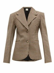 Khaite - Oversized Checked Wool Blend Blazer - Womens - Brown Multi