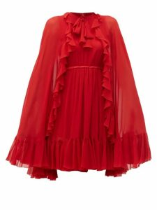 Giambattista Valli - Ruffled Cape Silk Chiffon Mini Dress - Womens - Red