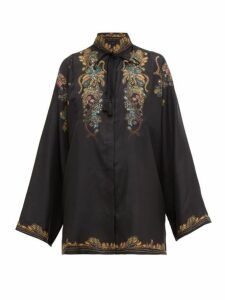 Etro - Feather Print Silk Faille Blouse - Womens - Black Multi
