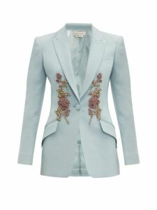 Alexander Mcqueen - Embroidered Single Breasted Wool Blend Blazer - Womens - Light Blue