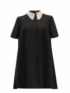 Sara Battaglia - Faux Pearl Collar Wool Blend Mini Dress - Womens - Black White