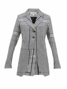 Loewe - Checked Single Breasted Canvas Jacket - Womens - Black White