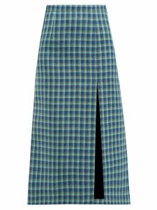 Balenciaga - Side Slit Checked Wool Midi Skirt - Womens - Blue Multi