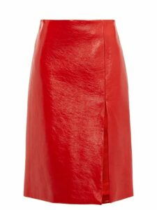 Balenciaga - Front Slit Cracked Patent Leather Skirt - Womens - Red