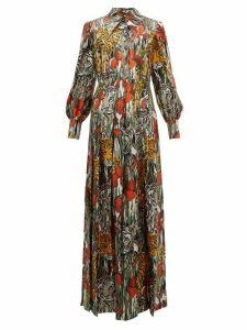 Gucci - Animal Print Silk Shirtdress - Womens - Orange Multi