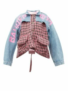 Natasha Zinko - Houndstooth And Denim Panelled Jacket - Womens - Pink Multi