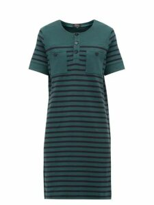 A.p.c. - Gaelle Striped Cotton Mini Dress - Womens - Green Multi