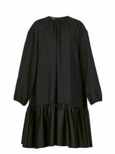 Rochas - Tie Back Gathered Crepe Dress - Womens - Black
