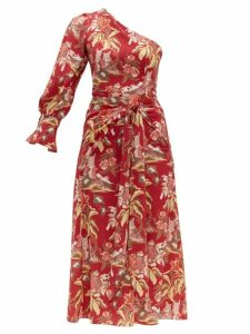 Peter Pilotto - Floral Print One Shoulder Crepe Dress - Womens - Red Multi