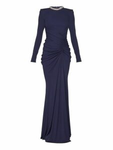Alexander Mcqueen - Crystal Embellished Gathered Gown - Womens - Navy