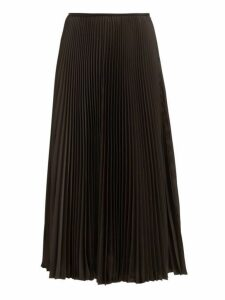 Joseph - Abbot Pleated Crepe De Chine Midi Skirt - Womens - Black