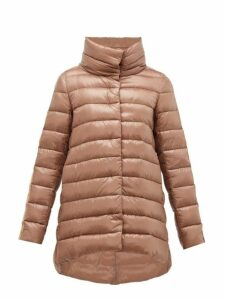 Herno - Hooded Velvet Trimmed Quilted Jacket - Womens - Bronze