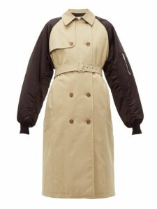 Msgm - Techincal-sleeve Cotton-gabardine Trench Coat - Womens - Beige