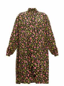 Balenciaga - Rose Print Silk Crepe Dress - Womens - Black Multi