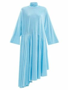 Balenciaga - Asymmetric Polka Dot Velvet Maxi Dress - Womens - Blue White
