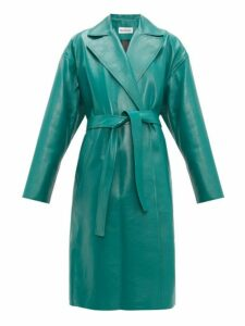 Balenciaga - Exaggerated Shoulder Leather Wrap Coat - Womens - Green Multi