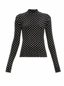 Balenciaga - High Neck Polka Dot Jacquard Velvet Top - Womens - Black White
