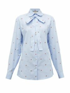 Gucci - Strawberry Fil Coupé Cotton Oxford Shirt - Womens - Blue Multi