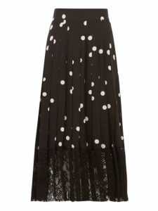 Dolce & Gabbana - Lace Trimmed Polka Dot Pleated Silk Blend Skirt - Womens - Black White