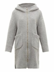 Herno - Hooded Wool Blend Bouclé Coat - Womens - Light Grey