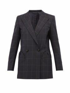 Blazé Milano - Chacco Kid Windowpane Checked Wool Blazer - Womens - Navy Multi