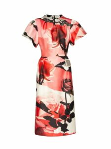 Alexander Mcqueen - Rose Print Wool Blend Satin Dress - Womens - Pink Multi