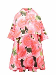 Richard Quinn - Rose Print Trapeze Satin Overcoat - Womens - Pink Multi