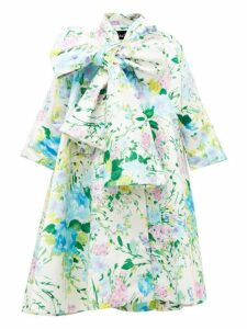 Richard Quinn - Floral Print Duchess Satin Coat - Womens - Blue Multi