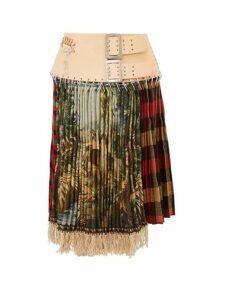 Chopova Lowena - Tartan Recycled Tapestry Skirt - Womens - Green Multi
