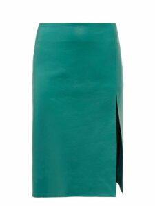 Balenciaga - Front Split Leather Midi Skirt - Womens - Green