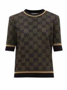 Gucci - Gg Jacquard Wool Blend Sweater - Womens - Black Gold