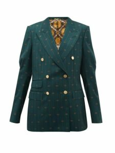 Gucci - Gg Pinstripe Double Breasted Wool Twill Blazer - Womens - Green Multi