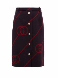 Gucci - Gg Jacquard Wool Blend Skirt - Womens - Navy Multi