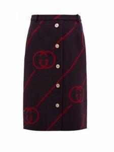Gucci - Gg-jacquard Wool-blend Skirt - Womens - Navy Multi