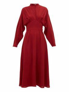 Emilia Wickstead - Autumn Pleated High Neck Crepe Midi Dress - Womens - Burgundy
