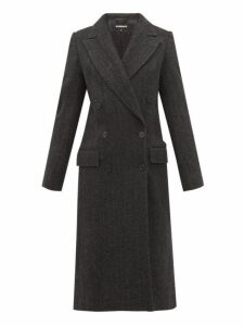 Ann Demeulemeester - Double Breasted Wool Herringbone Coat - Womens - Black Grey
