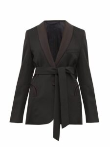Blazé Milano - Everyday Waist Tie Wool Blazer - Womens - Black