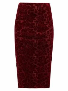 Galvan - High Rise Rose Appliqué Velvet Pencil Skirt - Womens - Burgundy