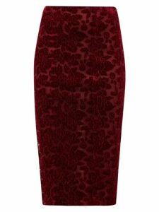 Galvan - High-rise Rose-appliqué Velvet Pencil Skirt - Womens - Burgundy