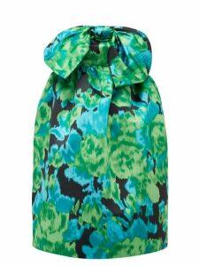Richard Quinn - Floral Print Strapless Satin Dress - Womens - Green Multi