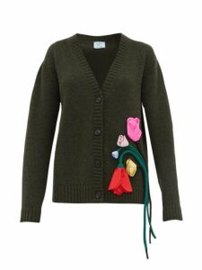 Prada - Appliqué Rose Wool Blend Cardigan - Womens - Green Multi