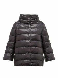 Herno - Velvet Stripe Quilted Down Jacket - Womens - Black
