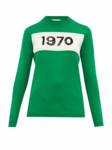 Bella Freud - Sequinned 1970 Merino Wool Sweater - Womens - Green Multi