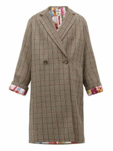 Stella Mccartney - Double Breasted Prince Of Wales Check Wool Coat - Womens - Grey Multi