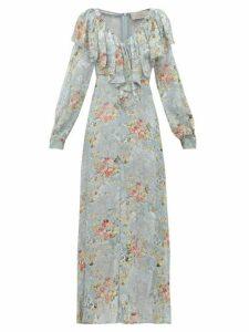 Preen By Thornton Bregazzi - Iris Floral Devoré Velvet Dress - Womens - Light Blue