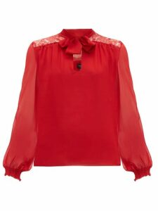 Giambattista Valli - Lace Panel Pussybow Silk Blouse - Womens - Red
